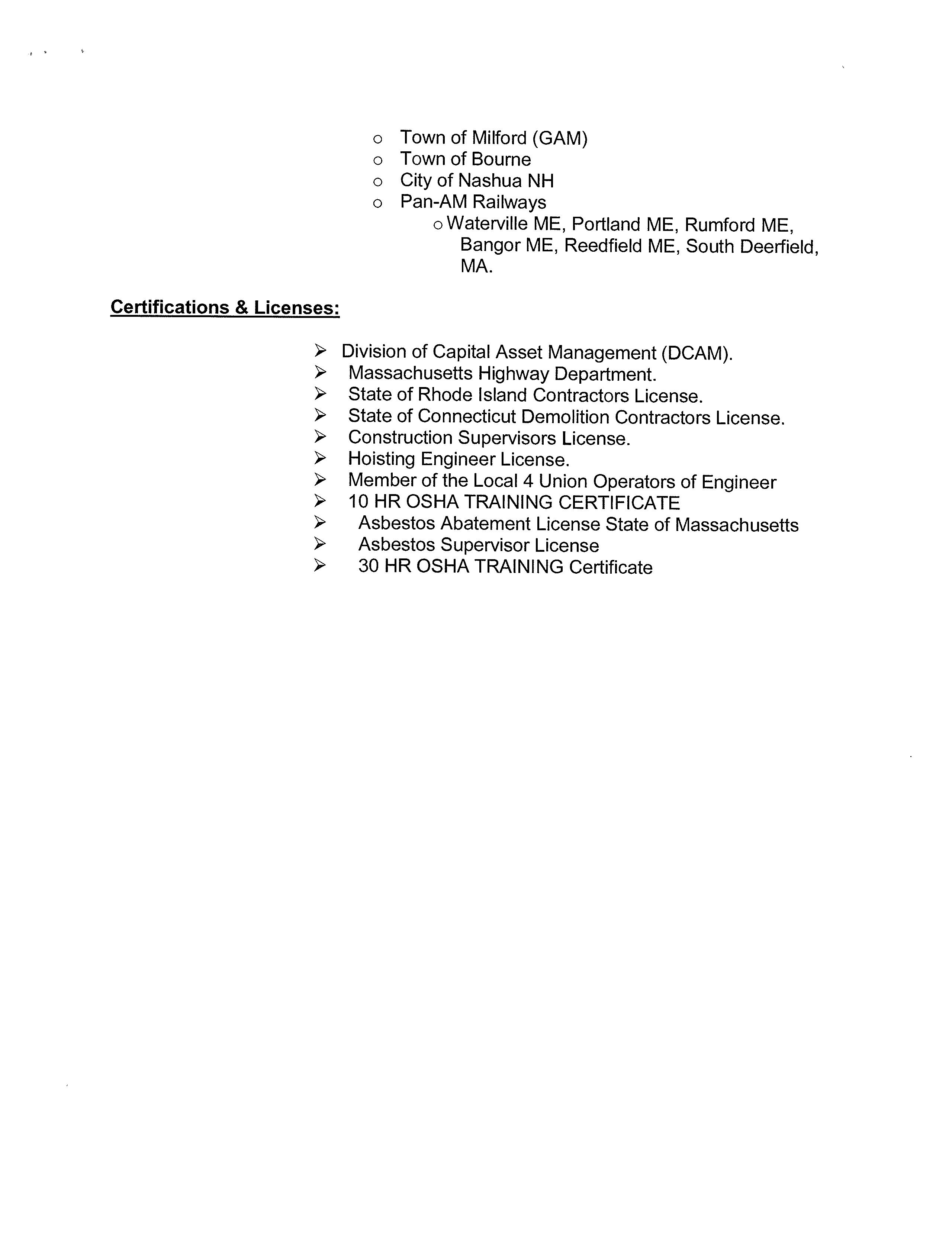 p o box 1915 duxbury ma 02331 certifications licenses